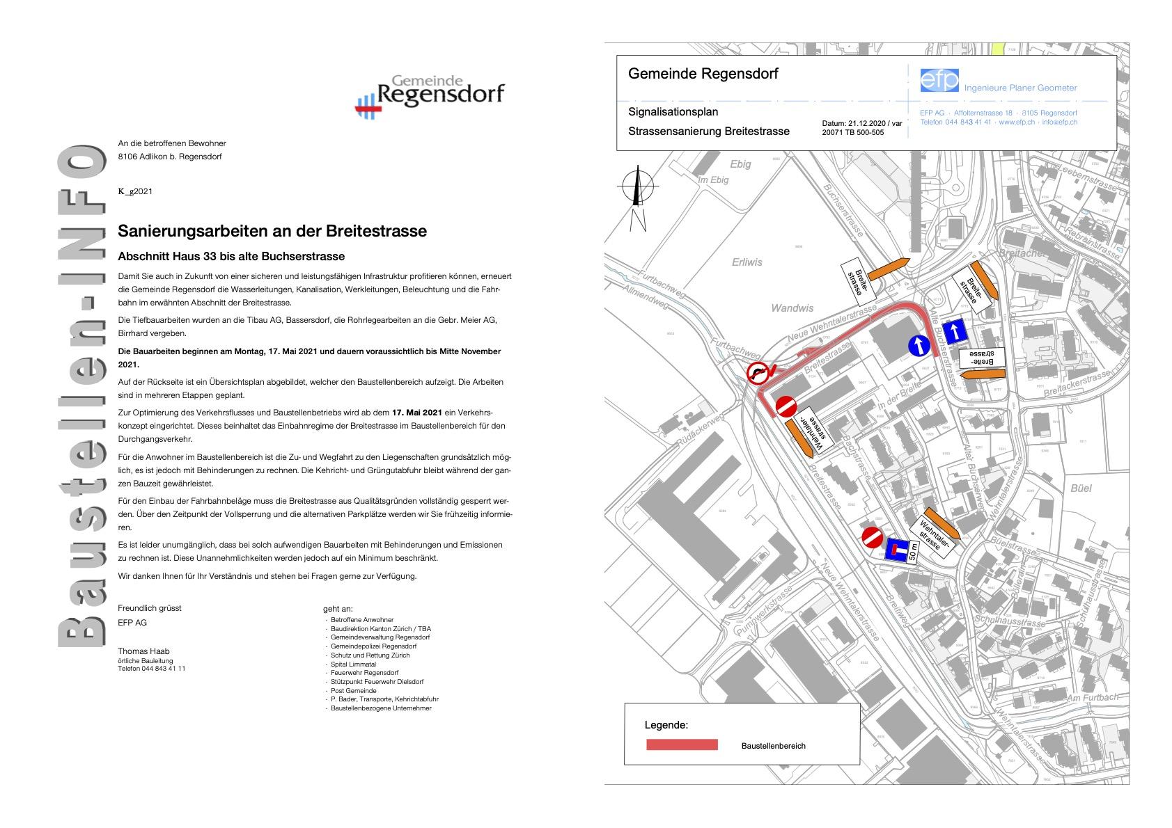 Baustelleninfo Breitestrasse