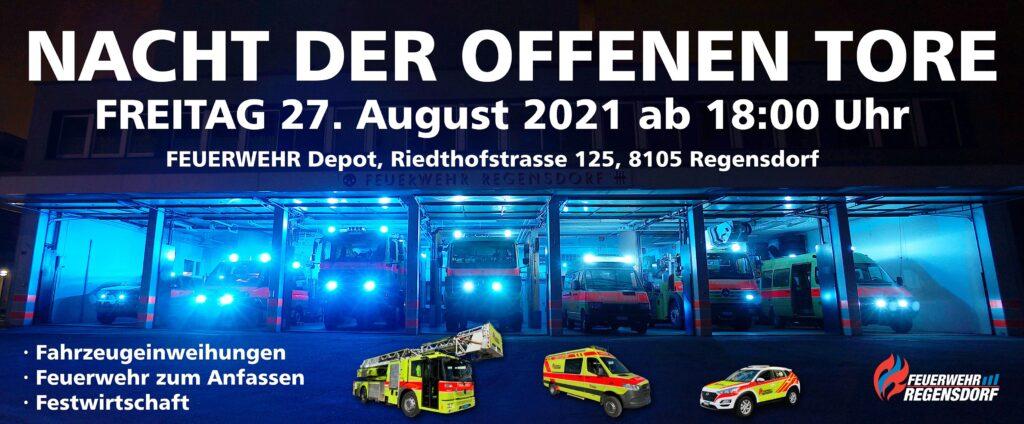 Am 27. August werden die neuen Fahrzeuge REGAN 1, REGAN 5 und REGAN 15 offiziell willkommen geheissen. An diesem Abend haben die Besucher die Möglichkeit, die Feuerwehr hautnah zu erleben!